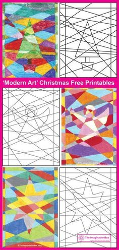 3 free festive printables - a challenging 'modern art' coloring activity for kids of all ages Christmas Art Projects, Christmas Arts And Crafts, Christmas Colors, Holiday Crafts, Christmas Art For Kids, Whimsical Christmas Trees, Winter Art Projects, Modern Christmas, Christmas Activities