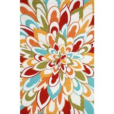 Outdoor Collection Bloom Area Rug - #V4448 | LampsPlus.com