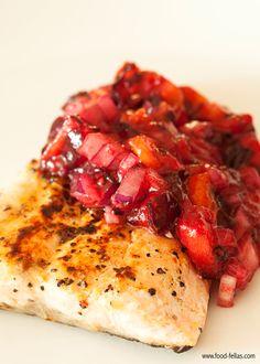 Salmon with plum salsa