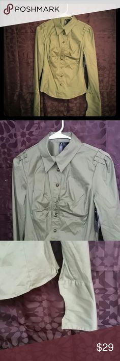 Bisou Bisou shirt size small This is new with tags olive green shirt 3 top buttons unbuttoned bottom 4 do not size small Bisou Bisou Tops