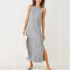 2e5d9357ec Plus Size Casual Striped Holiday Sleeveless Dress – jullymart