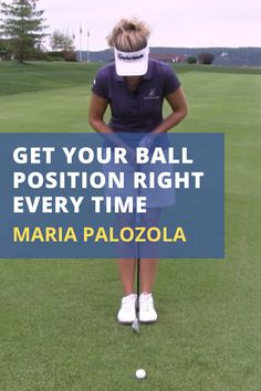 Where should you position the ball for your driver, fairway woods, and iron shots? Use Maria Palozola's feet together drill to guarantee a consistent ball position at setup. #golf #golftip #golfswing #golflessons #womensgolf Golf Books, Best Golf Courses, Golf Instruction, Golf Lessons, Play Golf, Ladies Golf, Golf Tips, Drill, Woods