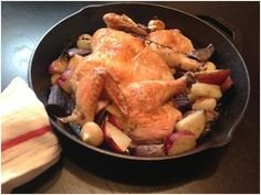 Skillet Roast Chicken with Cipollini Onions & Purple Potatoes | Little Lady, Big Appetite.  Made this with fingerling and sweet potatoes, sprigs of rosemary and thyme.  It was DIVINE!  Yowza!