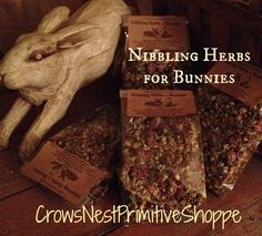 Certified Organic Nibbling Herbal Blend for Bunny Rabbits-  red clover rosehips chamomile & dandelion  TWO Sizes Available w/ Free Shipping by crowsnestprimitive on Etsy