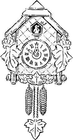 Vector Art: A cuckoo clock striking ten o'clock