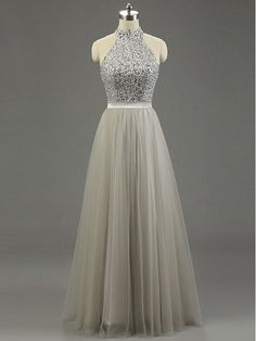 Halter Prom Dresses, Floor-Length Beading Evening Dresses, Real Made Charming Evening Dresses