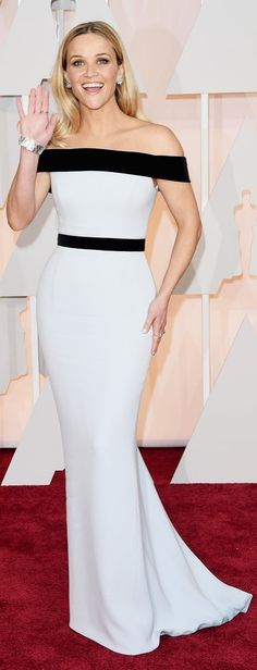 Reese Witherspoon in a black and white dress at the Oscars.