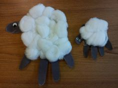 Make a big and little fluffy sheep with your child. Talk about the body parts of the sheep - child aged 24-30 months should be able to point to six body parts.