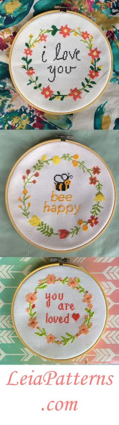 Modern Floral Wreath Cross Stitch Pattern Set - $7.50 at LeiaPatterns.com  This set comes with 3 cross stitch patterns! All of these patterns complement each other very well. They are quote patterns with floral wreaths around them. These cross stitch patterns make for great gifts and decorations because they go together so well.