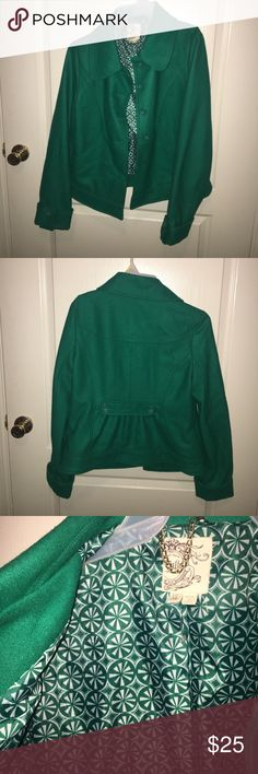 Green wool coat Green wool and viscose coat. A great pop of color for a work day. XL, but runs small in the shoulders. Was new with tags when I got it; I tore the tag off, but still never worn. Price negotiable! Tulle Jackets & Coats Pea Coats