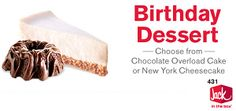 FREE Dessert at Jack in a Box During Your Birthday Week on http://hunt4freebies.com