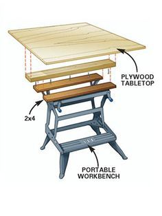 DIY Tip of the Day: Extended Portable Workbench. If you like your portable workbench but sometimes need a larger work surface, here's what to do. Screw a to a 4 sheet of plywood, then just clamp the onto the workbench and you're read Workshop Storage, Garage Workshop, Woodworking Bench, Woodworking Projects, Portable Workbench, Small Workbench, Mobile Workbench, Garage Atelier, Diy Garage