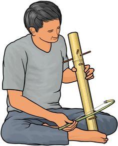 ソー・バン saw bang (Thailand): タイの弦楽器。太い竹を共鳴胴に使い、2本の弦を張ってある。