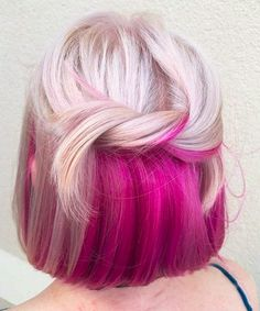 Best Platinum Blond & Winter Pink Hair Color Shades To Try in 2019 Best ever combinations of platinu Hair Color Shades, Hair Color Pink, Cool Hair Color, Blonde Color, Hair Colours, Blonde Pink, Creative Hair Color, Brown Blonde, Short Blonde