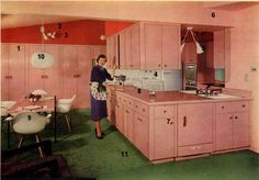 I would find it hard to leave my kitchen if it was this size, this pink, and this fabulous.