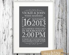 Wedding Print Personalized - You Choose Colours - Makes a Great Wedding Gift or present- Printable Custom Wedding Print - Love  A beautiful