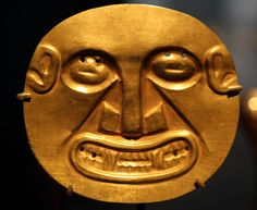 Important Panamanian Chiefs were buried with gold plaques symbolizing power and status. They were depictions of mystical being. This particular one appears humanoid with a feline snarl. The holes were used to attach the plaque to clothing.