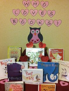 Valentine's Day. Library Book Display.