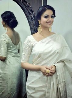 Gorgeous Keerthy suresh in white Saree Photoshoot Indian Dresses, Indian Outfits, Indian Clothes, Saree Photoshoot, White Saree, Most Beautiful Indian Actress, Traditional Sarees, Saree Dress, Saree Styles