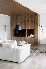 Apartment Cozy Fireplace Idea In The Living Room Use White Fabric Sofa Incredible Apartment Design For Book Lovers Modern Apartment Design, Apartment Interior, Modern Design, Timber Battens, Wood Slats, Wood Paneling, Barcelona Apartment, Ceiling Cladding, Cladding Panels
