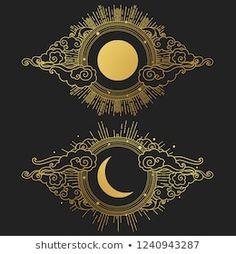 Graphic Design Illustration, Graphic Art, Illustration Art, Sun Moon, Stars And Moon, Wicca, Painting Inspiration, Tattoo Inspiration, Oriental Fashion