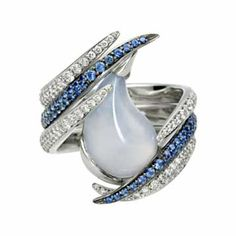 Captured Tear ring by Shaun Leane   Chalcedony with blue sapphires and diamonds set in white gold