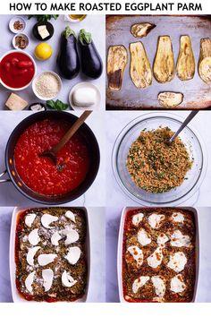Baked Eggplant, Roast Eggplant, Eggplant Parmesan, Vegetable Ideas, Vegetable Recipes, Tomato Basil Sauce, Fresh Mozzarella, Garlic Butter, Bread Crumbs