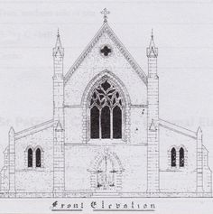 James Mark's original drawing of the front elevation of St Patrick's Cathedral.
