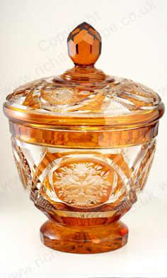 Antique Amber Glass. Engraved Biedermeier bowl and cover, c.1900. To visit my website click here: http://www.richardhoppe.co.uk or for help or information email us here: info@richardhoppe.co.uk
