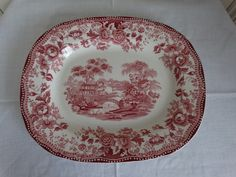 Royal Staffordshire Tonquin in a  Red Transferware Platter. Made in Burslem, England. by HomecomingDiningRoom on Etsy