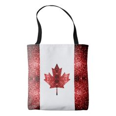 Canada flag red sparkles all over print tote bag by #PLdesign #sparkles #Canada #RedSparkles #SparklesGift