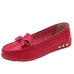 cdcce22b00f Mordenmiss Womens Printed Moccasins Leather Loafer Flat Shoes Style 2Rose  Red 38    To view