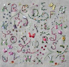 Flowered alphabet kit – French Needlework Kits, Cross Stitch, Embroidery, Sophie Digard – The French Needle