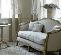 Curtain Idea: DIY drop cloth curtains with short lace panels over top.  The Paper Mulberry: Perfectly Pale - Sitting rooms