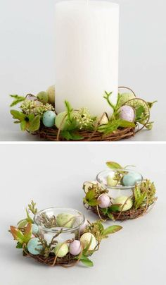 Egg nest tea light candle Rings or Pillar Candle Rings. Beautiful addition to your Easter decor. #Easter #homedecor #Eastereggs #farmhouse #rustic #ad #Easterdecor
