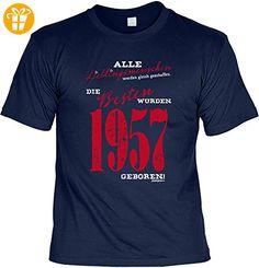 T-Shirt zum Geburtstag: Alle Lieblingsmenschen werden gleich geschaffen. Die Besten wurden 1957.. Tolle Geschenkidee - Baujahr 1957 - Farbe: navyblau (*Partner-Link)