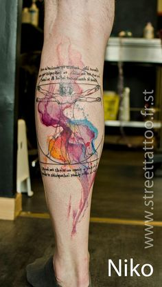 Watercolor style tattoo by Street Tatoo