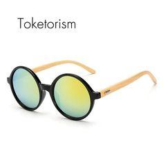 492adec22a04d FuzWeb Toketorism new Coating Mirrored round sunglasses dames bamboo  occhiali da sole uomo 7251 Round