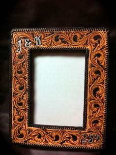 handmade tooled leather picture frame wwwclickincowgirlscom