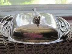 Vintage Silver Butter Dish with Duck on it by Daysgonebytreasures