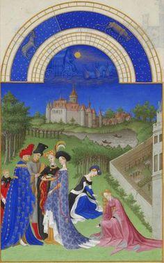 La connaissance de la perspective ne progresse pas pendant le Moyen-Âge, où l'aspect symbolique prédomine sur la représentation du réel. / avril, très riches heures du duc de Berry, 1412-16