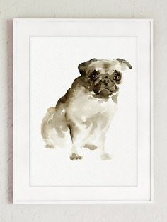 Pug Dog wall art, Watercolor painting, Brown dog portrait, Pet wall decor, Abstract Animal poster