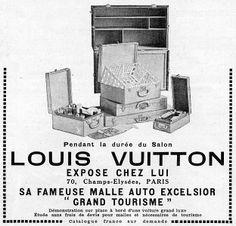 Louis Vuitton.Publicidad de 1923. Hacia 1870, Louis Vuitton se lanza al extranjero y abre su primera tienda en Londres (1885), a la que siguen tiendas en Nueva York y Philadelphia. En 1888, Louis Vuitton crea su primer logotipo: «Marque Louis Vuitton déposée»