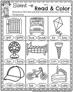 November First Grade Worksheets - Silent e Read and Color.