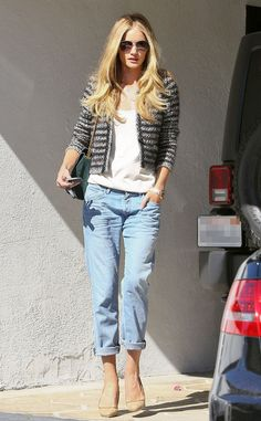 One of the Boys from Celebrity Street Style Though she wears boyfriend jeans, Rosie Huntington-Whiteley manages to look girly in a pair of nude heels and a fitted black and white tweed jacket in Beverly Hills.