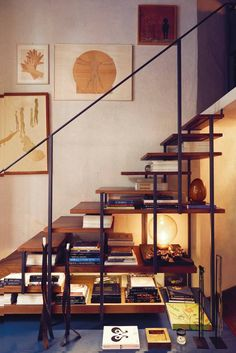 Staircase that moonlights as an elegant bookshelf.