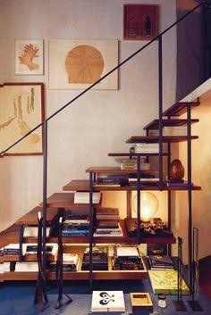 Staircase that moonlights as an elegant bookshelf.