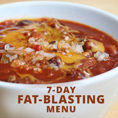 This 7-Day Fat-Blasting Menu is not only super tasty, it's also the perfect jumpstart to your weight loss plan. #fatloss #losefat #loseweight
