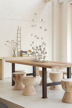 love these stools and the raw wood