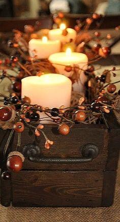 Fall Harvest Candlelit Centerpiece